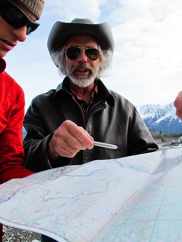 Pilot Gary Green giving Danny Uhlmann his first beta before a 100-mile ski/hike from Skolai Pass to McCarthy, Wrangell Mountains, Alaska.