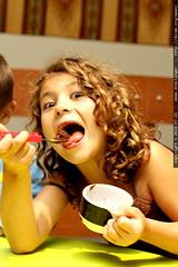 rebecca having brownie & ice cream for dessert