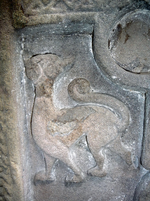 Cat themed carved Pictish stone at Meigle, Scotlan