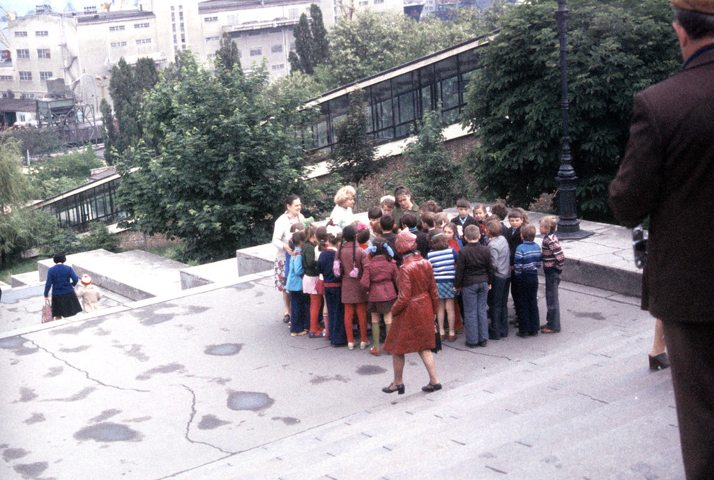 Group of children posing on Potemkin Steps, Odessa-1977