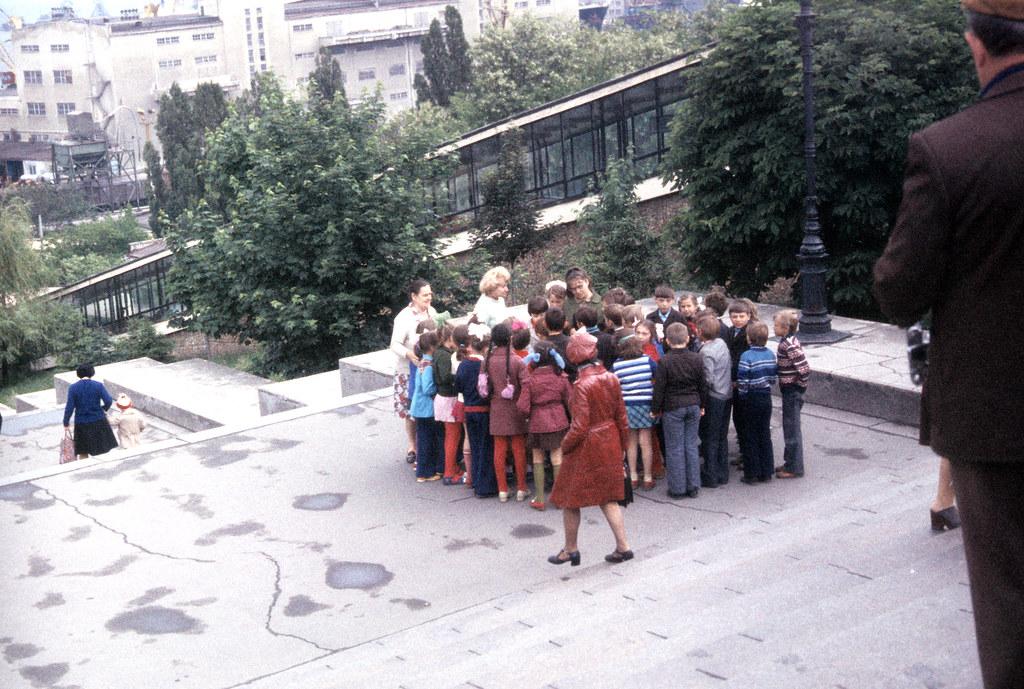 Group of children posing on Potemkin Steps, Odessa-1977