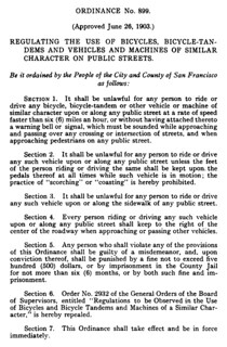 San Francisco bicycle regulations (1903)
