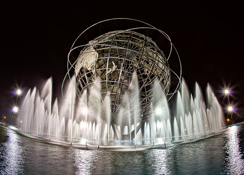 park new york longexposure ny water fountain pool statue canon lights reflecting globe pumps earth mark steel space large meadows fair meat fisheye queens corona ii sphere worlds eggs 5d hdr circular stainless unisphere flushing waterjet cs5