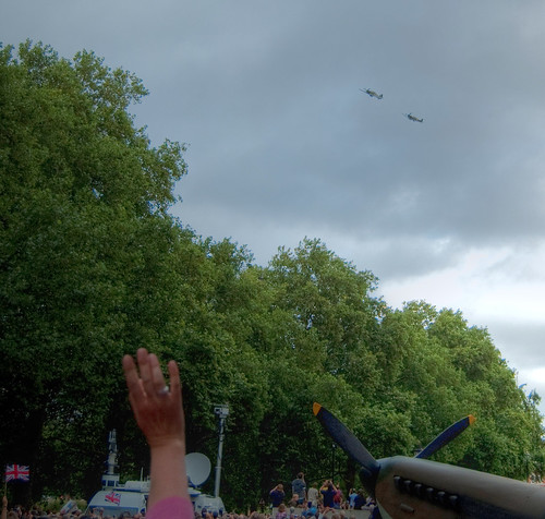 Fly past of Spitfire and Hurricane over London