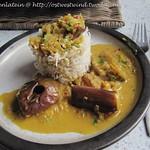 Geräucherter Reis zu Auberginen Curry mit Zitronengras & Kokosnussmilch