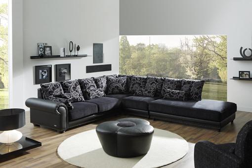 Granfort sof s rinconera tapizados en tela y piel textil for Sofa rinconera de piel