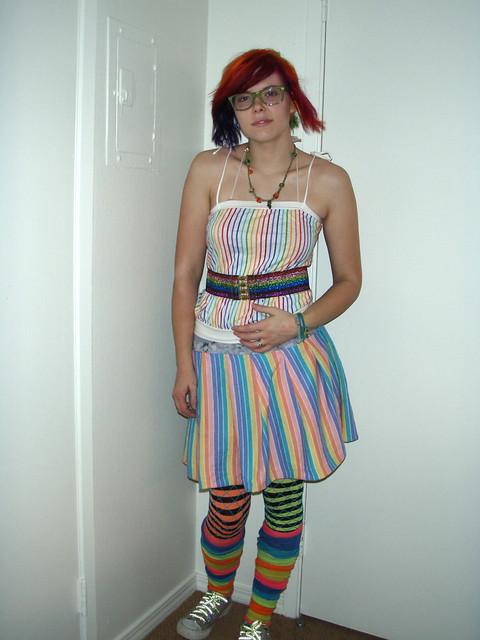 neon stripey rainbow