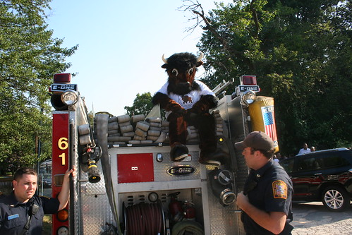 Buddy Bison and local fire department at Elsie Stokes' 1st Day of School Celebration