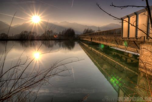 bridge sunset water river bayern bavaria mirror inn wasser sonnenuntergang brücke spiegelung nussdorf 巴伐利亚 chiemgau brannenburg flus 阳 alpenbildde
