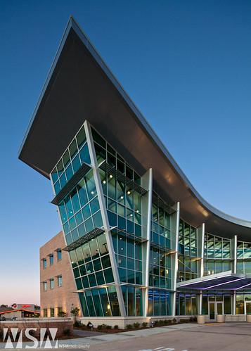 longexposure sunset usa building glass architecture hospital slidell evening design la cancer medical glazing curtainwall kawneer aedesign cancertreament