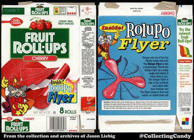 General Mills - Betty Crocker - Fruit Roll-Ups - Cherry - Rolupo Flyer - 4oz fruit snacks box - 1991