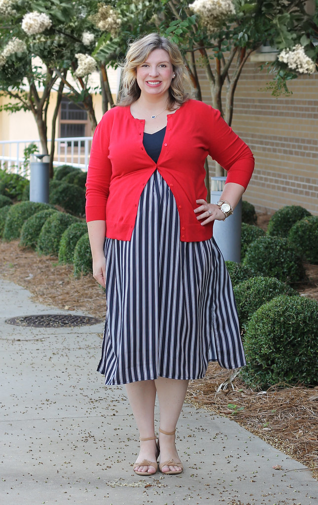 maternity blue stripe dress and red cardigan 2
