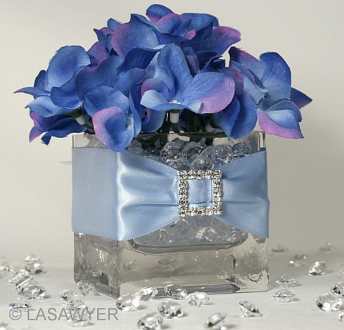 Blue hydrangea wedding centerpiece we used silk