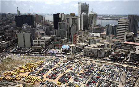 An aerial view shows the central business district in Nigeria's commercial capital of Lagos, April 7, 2009. REUTERS/Akintunde Akinleye  by Pan-African News Wire File Photos