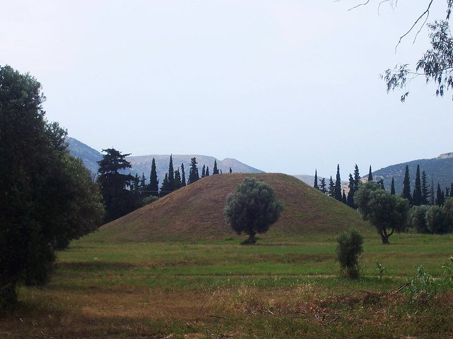 The Athenian tumulus at Marathon, a mound raised over the 192 Athenian who died in the battle of Marathon defeating the mighty Persian army in 490 BC