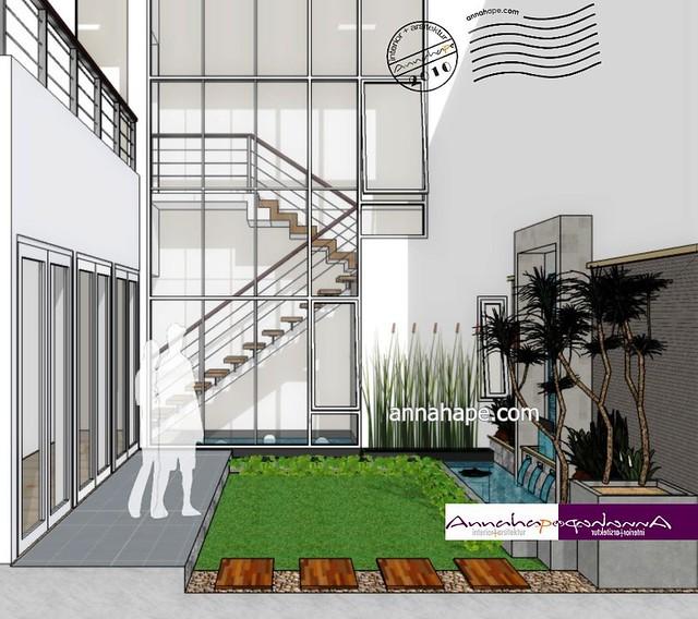 contoh taman mungil dan kolam di belakang rumah design b