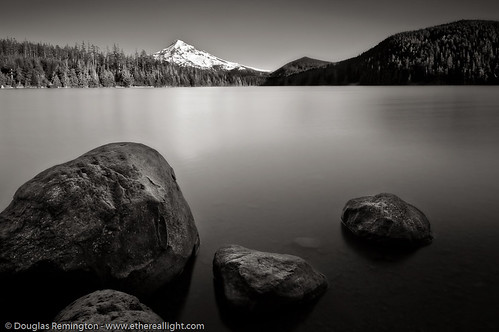 Lost lake and Mt. Hood - B+W