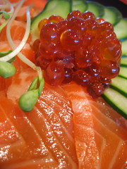 fish(0.0), candied fruit(0.0), produce(0.0), salmon(1.0), vegetable(1.0), fish(1.0), garnish(1.0), food(1.0), dish(1.0), cuisine(1.0), smoked salmon(1.0),