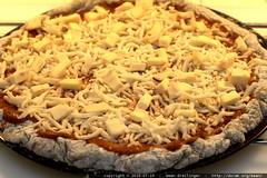 pizza before: brie on buckwheat sourdough crust