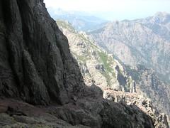 Trou et sommet du Tafonatu : départ de la vire de l'Oncle Crisolo