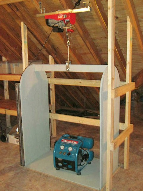 Attic lift above flickr photo sharing for Diy home elevator plans