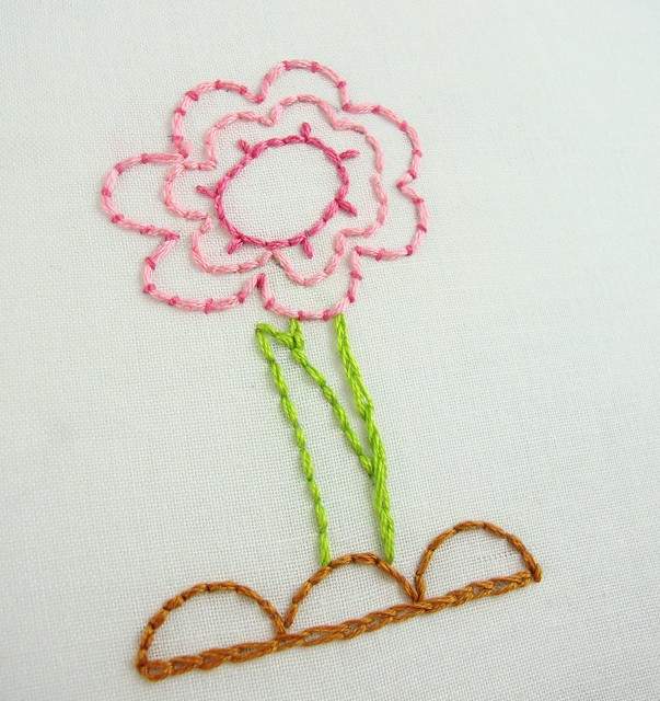 Flower with couching stitch flickr photo sharing