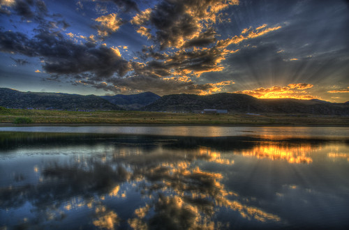 sunset sky mountain lake reflection water clouds landscape football colorado denver hdr littleton eastonpark hinelake 201008 dakotaridgehighschool