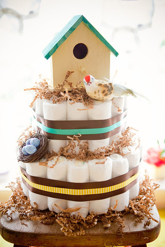 Bird themed diaper cake