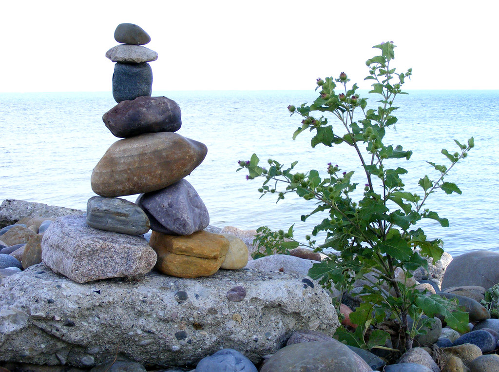 Rock Stacking Art Off The Bike Trail Close To The Shore Flickr