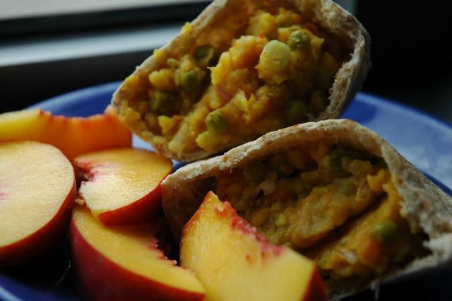 Pav bhaji in pita with peaches