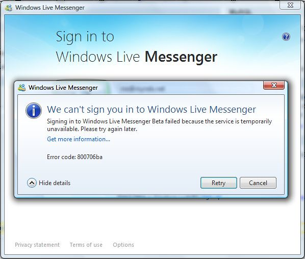 Windows Live Messenger 9 0 Windows Live Messenger Error