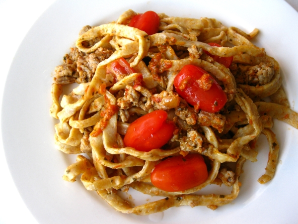Homemade Pasta with Sausage and Grape Tomato Sauce