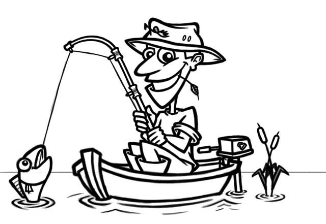 cartoon fisherman in boat