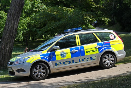 Police Car pictured in Alexandra Park Hastings