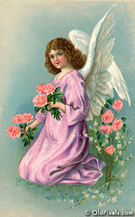 Angel gathering flowers on Eastertide