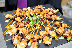 brochette, meat, food, dish, pincho, shashlik, cuisine, skewer, satay, grilled food,