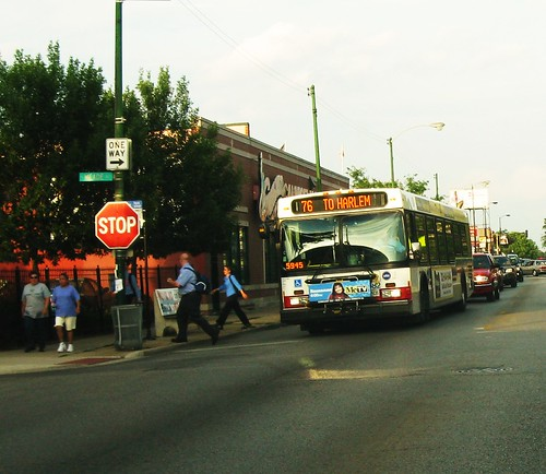 Westbound CTA Route # 76 Diversey Avenue bus at the intersection of West Diversey and North Meade Avenues. Chicago Illinois. July 2010. by Eddie from Chicago