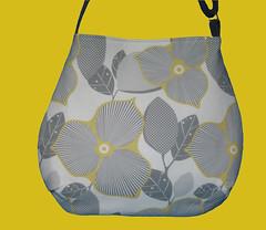 Curvy slouch fabric bag Amy Butler Optic Blossom
