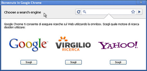 Benvenuto in Chrome: scegli un motore di ricerca