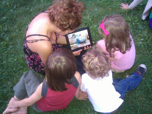 Gathering around the iPad to watch Thomas