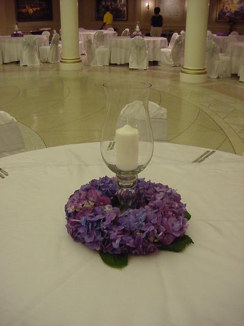 Purple hydrangea wreath candle centerpiece a photo on