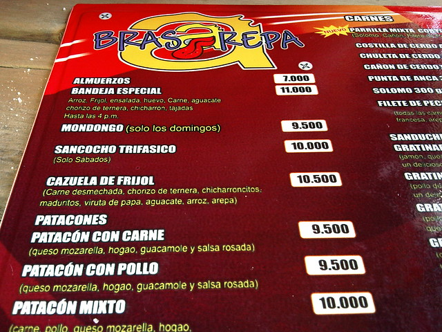 The menu of traditional Colombia dishes.