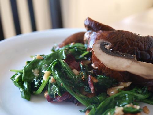 Warm Spinach Salad w/ Grilled Portobellos