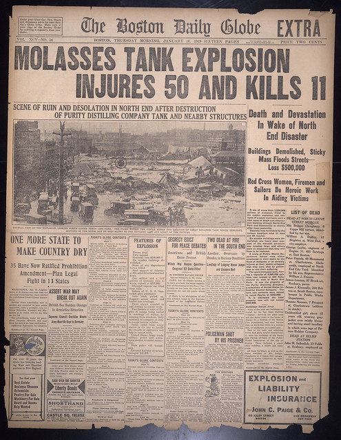 Molasses tank explosion injures 50 and kills 11 [Boston Daily Globe, January 16, 1919]