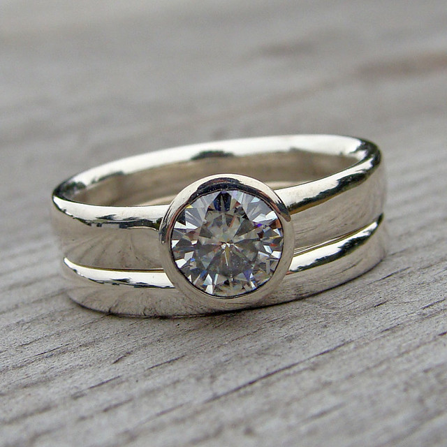 moissanite and recycled palladium sterling silver rings