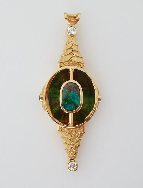 18K Black Opal Pendant / 5
