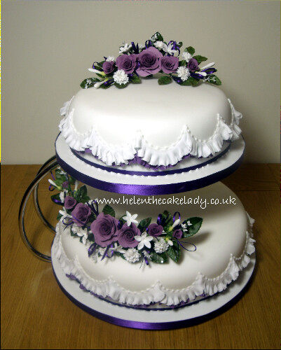 Lilac deep purple rose with frill wedding cake