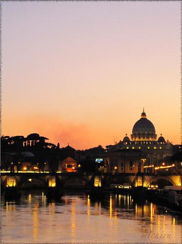 sunset italy rome roma river italia tramonto fiume tevere churche lazio spietro basilicasanpietro