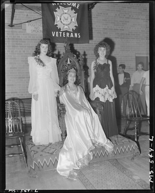 Queen of the Fourth of July celebration here sponsored by VFW; from left to right: Fosca Polni, Bessie Sampino, Maryln Pappas, daughter of miner. Price, Carbon County, Utah.