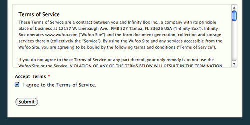 Accepting terms of service through a wufoo form wufoo for Terms and conditions of service template